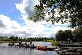 MAC Visual Media - 5th August 2017 Picture by Paul McCambridge/MAC Visual Media Swimmers resting at Culky Jetty before the 5k swim into Enniskillen, as part of the Couch to 5k Swim Challenge.
