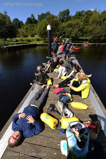 MAC Visual Media - 5th August 2017 Picture by Paul McCambridge/MAC Visual Media Swimmers resting at Culky Jetty before the 5k swim into Enniskillen. Couch to 5k Swim Challenge