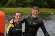 MAC Visual Media - 5th August 2017 Picture by Paul McCambridge/MAC Visual Media First home in the Couch to 5k Swim Challenge Jenny Brewster with her husband and runner up Tom.