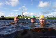 MAC Visual Media - 5th August 2017 Picture by Maureen McCoy / MAC Visual Media Paul Gormley, Tim Fagan and Jenny Brewster have time to enjoy the scenery from a different angle as they swim around Devilish Island in training for their Couch to 5k Swim Challenge.